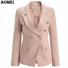 Pale Pink Blazer Wear to Work Office Lady Tops Clothing Fall Women New Button Design Blasers 2018 Spring Fashion Coat Chaquetas(China)