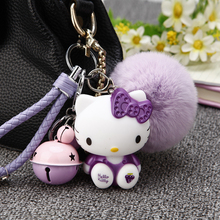 Leather Rope Small Bell Rabbit Fur Ball Pom Pom Fluffy Hello Kitty Keychain Keyring Car for Women Charm Bag Key Chians Pendant