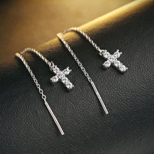 GZ 925 Silver Cross Earring Long Chain AAA Crystal 100% S925 Sterling Silver boucle d'oreille Drop Earrings for Women Jewelry(China)