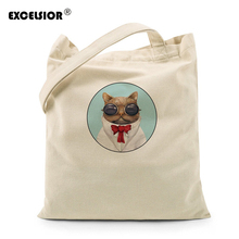 EXCELSIOR Women Canvas Handbag Cartoon Cats Printed Beach Zipper Bag Ladies shopper bag Sac a main Bolsos Mujer Bolsa Feminina(China)