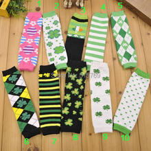 Free Shipping 1 pair baby Leg Warmers children cotton Leggings four leaf clover Socks arm warmers St Patrick's day gift(China)