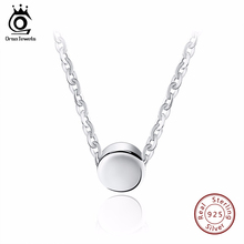 ORSA JEWELS Fashion 925 Sterling Silver Round Pendant Necklaces 44 cm for Women 2017 Genuine Silver Necklace Jewelry Gift SN04(China)