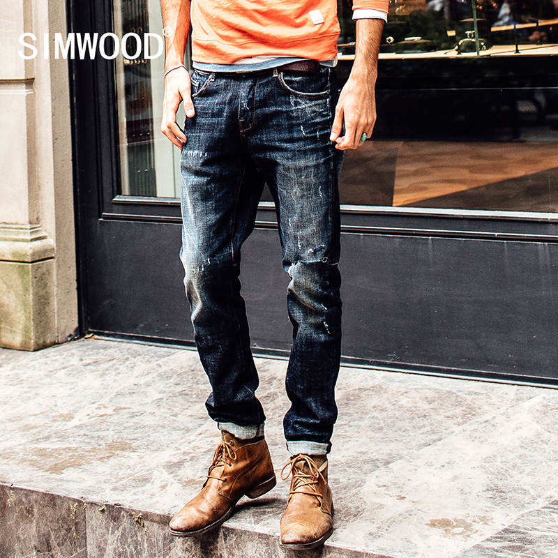 Simwood 2017 Autumn Male fashion Hole Decorated Denim Jeans Men Personality Cowboy Long Pant  skinny jeans men  SJ6039Îäåæäà è àêñåññóàðû<br><br>