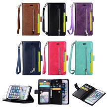 Luxury PU Leather Zipper Wallet Case For iPhone 6 6s Flip Cover Strap Magnetic Closure Back Cover Phone Case Handbag