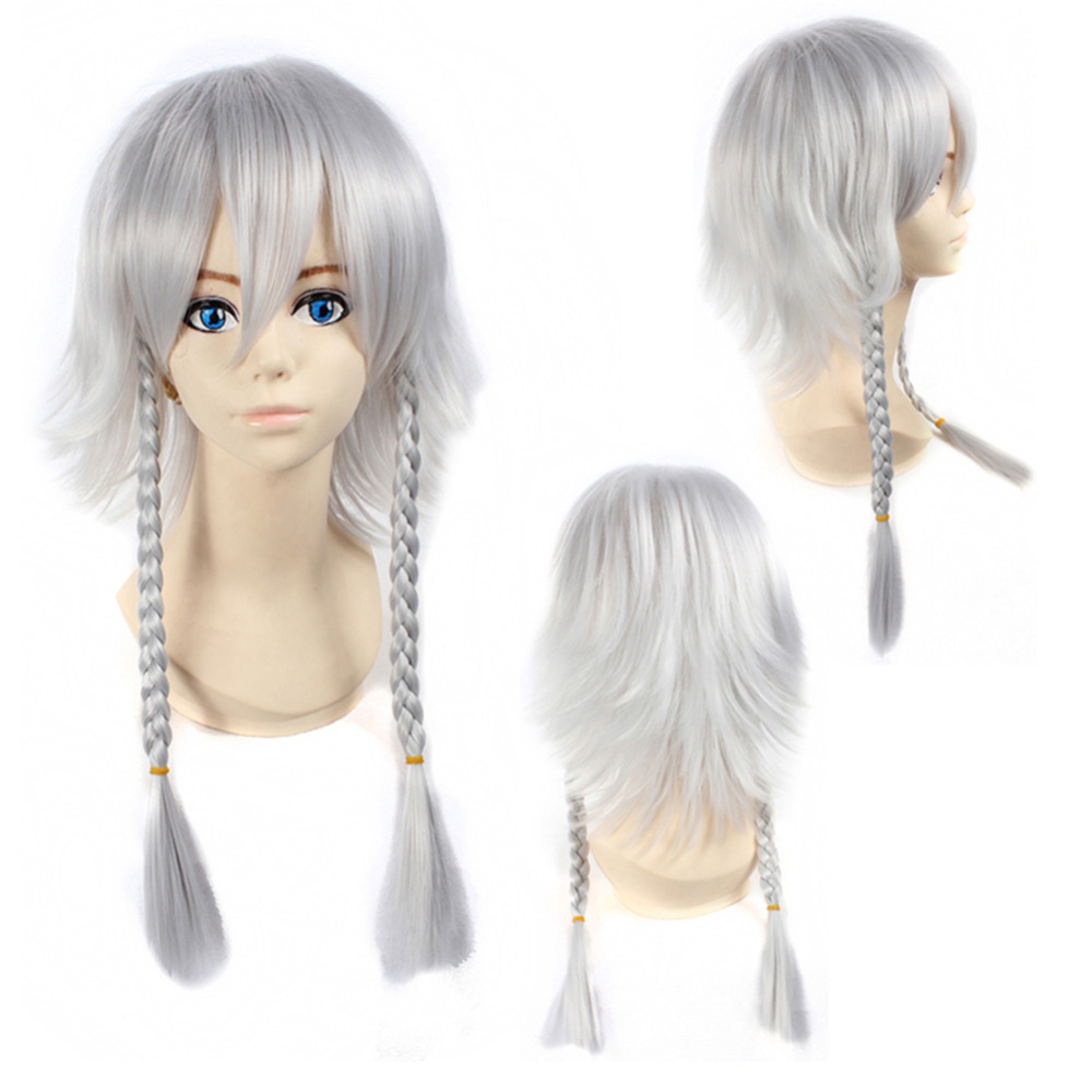 Silvery Gray Party Wig Cosplay Hair Wig Girls Anime Cosplay Wigs With Hair Fringe,Cute Braided Style False Full Head Wig<br><br>Aliexpress