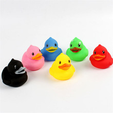 2016 New Animals Colorful Soft Rubber Float Squeeze Sound Squeaky Bath Toy Classic Rubber Duck Plastic Bathroom Swimming Toys(China)