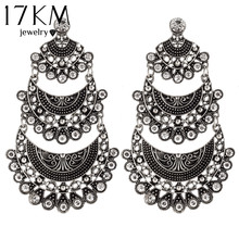 17KM New Arrival Big Earring Rhinestone Vintage Dangle Earrings For Women Personality Jewelry boucle d'oreille femme pendante