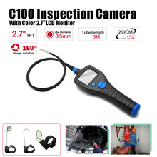 "Free Shipping!C100 8.5mm 2.7"" Endoscope Borescope Inspection Snake Camera Rotate Zoom Total 3 Meter(China)"