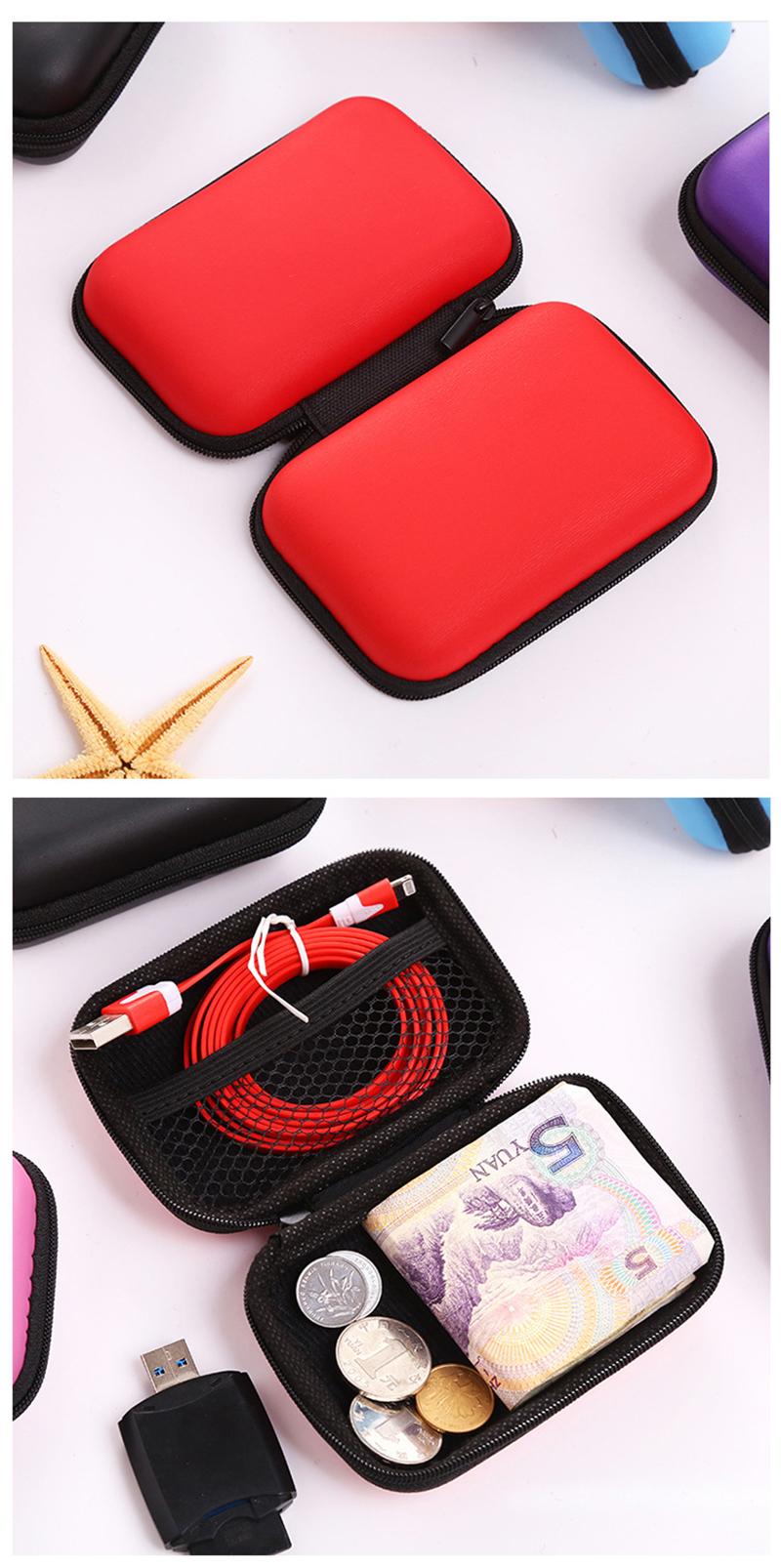 prativerdi Zippered Lock Hard Earphone Case EVA Leather Headphone Storage Bag Protective Usb Cable Portable travel Organizer4