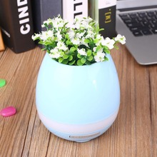 Plant Pots Bluetooth Speaker Soundbox Touch Sensor Piano Player with LED Lamp Vase Home Decoration(China)