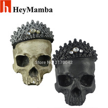 Halloween Resin Simulation skull Crown King Human Skull Model Resin Skull Head Art Copy Home Bar Decoration