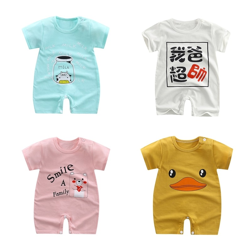 Girls Jumpsuit Rompers Overalls Clothing Short-Sleeve Newborn-Clothes Roupas Baby Boys title=