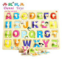 Candice guo! hot sale Danni toys ABC puzzle board educational wooden toy letters recognition English learning 1pc(China)