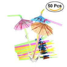 50pcs Bar Club DIY Drink Party Decoration Fluorescent Umbrella Straws Disposable Drinking Suckers Tubularis (Mixed Color)