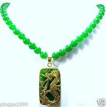 Hot sale Free Shipping>>Green stone Bead Dragon Pendant Necklace(China)