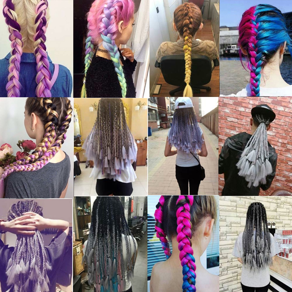 MERISIHAIR 24inch Ombre Kanekalon Synthetic Braiding Hair Crochet Hair Extensions Jumbo Braids Hairstyles Blonde Red Blue Grey -
