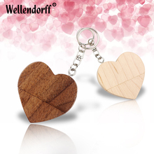Love Heart-shaped wooden box usb flash pen 64GB 32GB 16GB 8GB 4GB wooden USB Flash Drive love Memory Stick with key chain