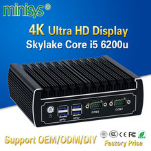 Minisys fanless linux computer intel core i5 6200u 4k mini pc dual nic barebone nvidia pcs support ddr4 8gb ram 128g SSD hdmi2.0(China)