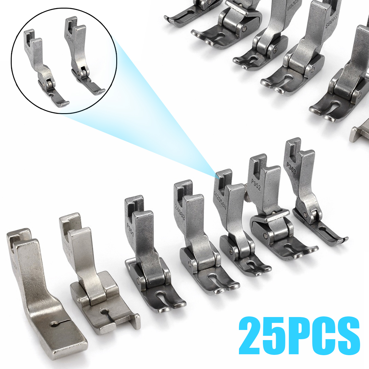 25Pcs Silver Presser Foot Sewing Machine High-Shank Presser Feet Set For JUKI DDL-5550 8500 8700 Industrial Sewing Machine