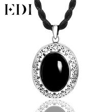 EDI 925 Sterling Silver Black Gemstone Pendant for Women Original Design Thai Silver Fine Jewelry Chalcedony Necklace & Pendant(China)
