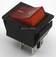 5pcs / lot KCD4-201N 12V 24V LED light perforate 26 x 22 mm 4 pin ON - OFF boat rocker switch power switch