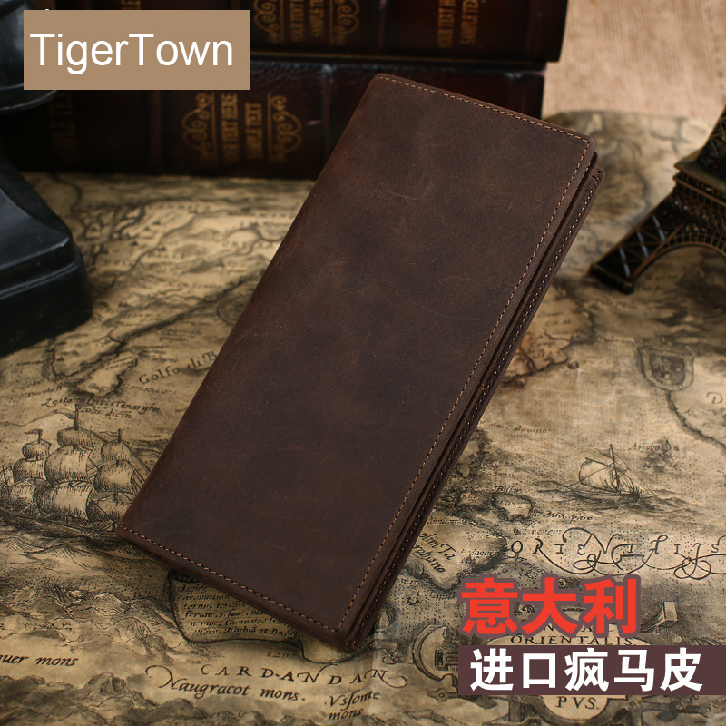 TigerTown Top Quality Crazy Horse Leather Vintage Rare Genuine Real Cowhide Leather Wallets Mens Clutch Card Holder Purse<br>