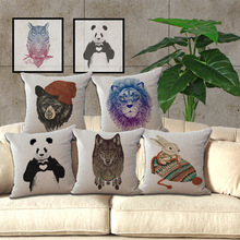 Wholesale price 1 piece Color Animal Painting Seat Cushion Decorative Home Decor Sofa Chair Throw Pillows Case 45*45cm