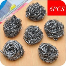 6Pcs Stainless Steel Wool Scourer Kitchen Tableware Pot Pan Dish Clean Heavy Duty New Cleaner Cleaning Ball