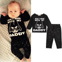 Buy Hot Newborn Baby Boy Girl Clothes Star Wars Long Sleeve Cotton Tops T-shirt Long Pants 2pcs Outfit Set Bebek Giyim for $5.30 in AliExpress store