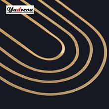 Width 4.5mm Stainless Steel Flat Necklace Gold and Silver Color Waterproof Filmy Snake Chain Men Gift Jewelry Various Length(China)