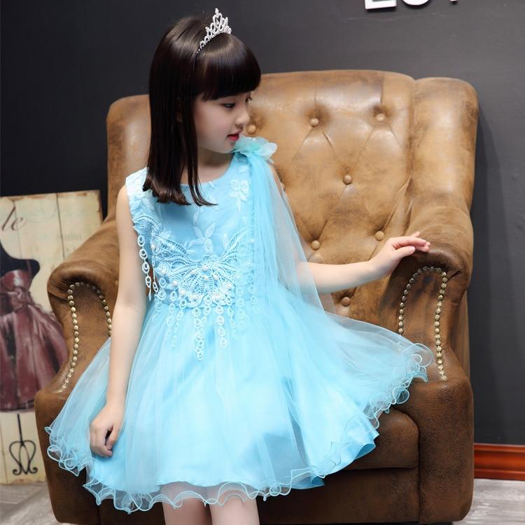 Girl Summer Dress New Pattern Children Fashion Korean Shoulder Flower Lace Gauze Dress Mesh Lace Kids Clothing<br>