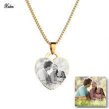 New Personalized Blank Front Back Name Plate Necklace Custom Tag Stainless Steel Pictures Photo hearts Necklace Women Gift