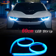 2Pcs 60cm White+Yellow Flexible led Tube Strip car-styling soft DRL Headlight Lamp Guide Car LED Daytime Daylight Running light(China)