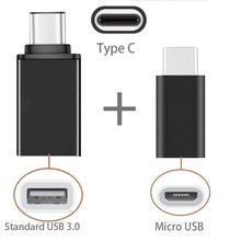 2in1 Type C to USB OTG Adaptor + Type-C to Micro USB Adapter For Xiaomi Huawei Lenovo Zuk Z2 Pro Leeco Le 2 3 Accessories Black(China)