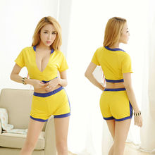 2017 New Sporty Fashion Style Ladies Baby Doll Sexy Lingerie Yellow Erotic Football Baby Fancy Underwear For Women Hot Selling
