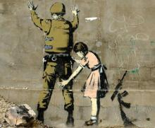 "Banksy Peace Art Graffiti Artist Fabric Poster 32"" x 24"" 17""x13""--04"