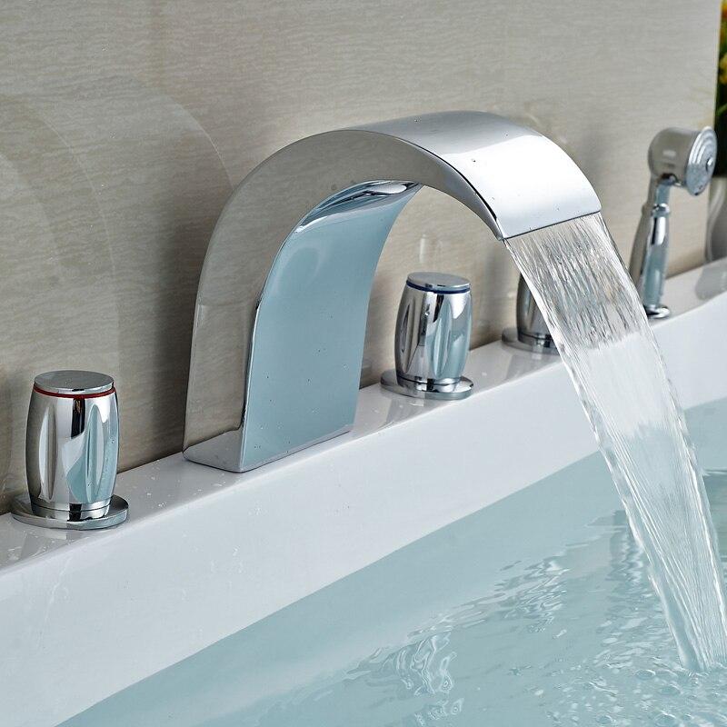 Widespread 5pcs Bathtub Faucet Deck Mount Tub Mixer Tap With HandShower Chrome Finish<br><br>Aliexpress