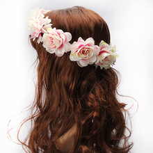 M MISM Flower Headband Women For Wedding Floral Headband Hair band Wedding Party Prom Festival Decor Princess Floral Wreath Head(China)