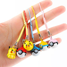 1pc Pokeball Pikachu Keychain Pendant Small Hanging Bells Cute Mini Pokedoll Anime Figures Cell Phone Strap Dangle Charms Toys