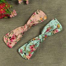2016 New 1x Floral Fabric Elastic Baby Girl Headscarf Mini Chinese Roses Hair Bow NewBorn Hear Accessories Bebe Hadband Bow Ties