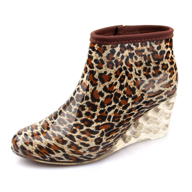 Pvc rain Shoes Korean Version Slope With Low Side Zipper Waterproof Boots water shoes rainboot Wedge heel<br><br>Aliexpress