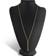 LNRRABC 1PC Hot Fashion Alloy Copper Long Link Chain Bar Pendant Women Lady Girl Pendant Necklace Golden Silvery(China)