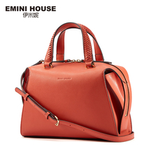 EMINI HOUSE Stylish Knitting Handle Shoulder Bag Split Leather Women Handbags High Capacity Crossbody Bags For Women(China)