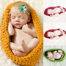 5 Colors Baby Cocoon Newborn Photography Props Handmade Newborn Knitted Hat Pod Sleeping Bag Crochet Toddler Costume Outfit