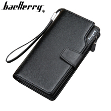 Men wallet zipper pocket male clutch multifunction leather wallets long cellphone bag big capacity free shipping
