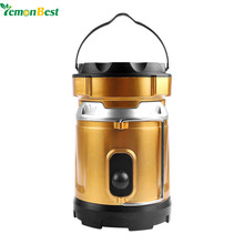 LemonBest Multi-function Camping Light Rechargeable LED Lantern Collapsible Solar Portable Tent Lamp Ourdoor Hiking with Handle