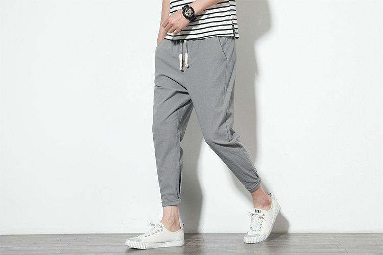 Cotton Linen Joggers Light Grey Men's Harem Pants 5