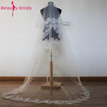 Bridal Cheap Cathedral Wedding Veil Accessories 2.6 Meter Voile Mariage Vail Velos Lace Cotton Bride Veils