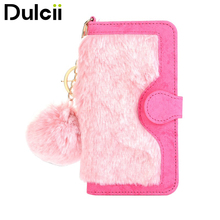DULCII for Apple iPhone 7 Case Detachable Leather Wallet Phone Cover Case for iPhone 7 Shells with Warm Rabbit Fur Decoration(China)