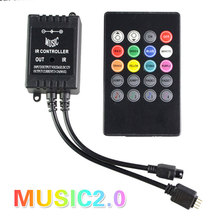 Newest LED Music IR Controller 12V 24 Keys IR Remote Controller for 3528 5050 RGB Strip Lights Music Sound Activated Controller